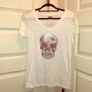 Kings of Cole white v-neck bedazzled skull print T